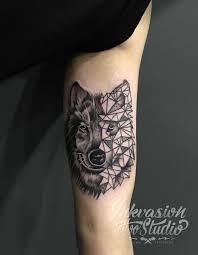 Half Geometric Wolf Tattoo Inkvasion Tattoo Studio Singapore