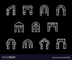 Archway Graphic Designs Set Of Archway Styles White Line Icons