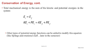 conservation of energy cont