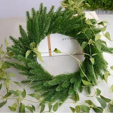 2019 pine branches diy artificial flower wreath fake plants pine branches for party decor xmas tree ornaments kids gift supplies from