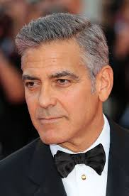 george clooney short side part hairstyle with grey hair
