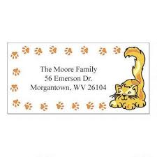 Labels With Border Paw Prints Cats Border Return Address Labels