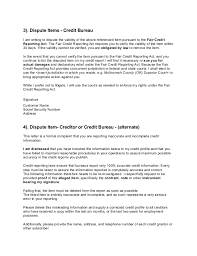 Letters To Dispute Credit Credit Dispute Letters