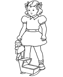 Small Picture BlueBonkers Girl Coloring Pages Girl with baby doll Free