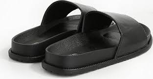 forever 21 black faux leather slides