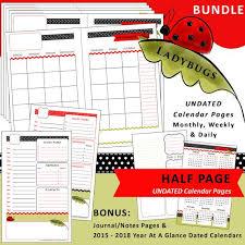 Printable Calendar Planner Ladybugs Half Page Monthly