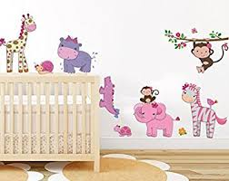 pink girly animals wall sticker baby girl room jungle wall art decor removable nursery wall decal on jungle wall art for baby room with pink girly animals wall sticker baby girl room jungle wall art decor