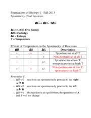 Gibbs Free Energy Entropy Enthalpy Chart Gibbs Free Energy Worksheet 3 1 Foundations Of Biology