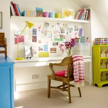 office ideas for home. Colourful Office Space With Neutral Carpet, White, Blue And Yellow Shelves A Ideas For Home
