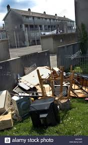 destro furniture thrown out of a flat from this rundown housing estate in devonport plymouth england