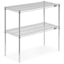 uline metal shelving two shelf wire shelving unit 36 x 18 x 34 chrome h