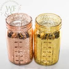gold and rose gold mercury glass mason jars