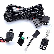 amazon com kawell heavy duty led light bar wiring harness kit kawell heavy duty led light bar wiring harness kit 14 awg wiring 40amp relay on off strobe remote control switch 1 lead 12 ft remote control