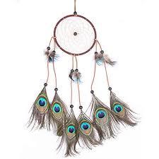 Purchase Dream Catchers Cren Handmade Circular Net Dream Catcher with peacock Feathers 74