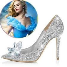 glass wedding shoes. silver cinderella wedding party diamond pumps crystal high heels shoes uk2.5-7 glass