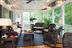 decorating with wicker furniture. Patio Decorating Ideas Using Tropical Style With Wicker Furniture And Wooden Deck Flooring For O