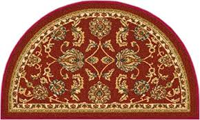 non skid slip rubber back antibacterial 18 x 31 slice door mat hearth rug timeless oriental red traditional classic sarouk thin low pile machine