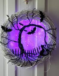 Spooky Halloween Tree With Cat Bats Fence Lighted Wreath