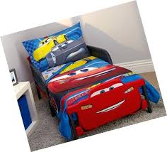 cars racing team 4 piece toddler bedding set blue red yellow green and