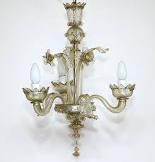 a classic murano glass three light chandelier handcrafted venice italy mid