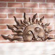 >metal garden wall decor wall plate design ideas metal garden wall decor outdoor wall plaques half sun face at expose brick wall decor
