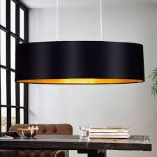 Design Pendel Leuchte Textil Schwarz Gold Wohnzimmer Hänge
