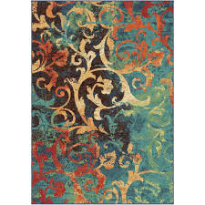 orian rugs watercolor scroll multi bright colors 7 ft x 10 ft indoor area