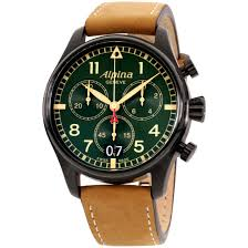 Купить <b>Alpina</b> Startimer Pilot Quartz Movement Green Dial Men's на ...
