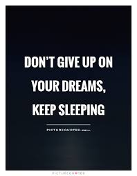 Don T Give Up On Your Dreams Quotes Best of Don't Give Up On Your Dreams Keep Sleeping Picture Quotes