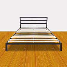 US $108.86 5% OFF|Simple Basic Iron Bed Square Horizontal Bar Head of Bed Metal Platform Bed Frame Full Size Bedroom Furniture Black US Stock-in Beds ...