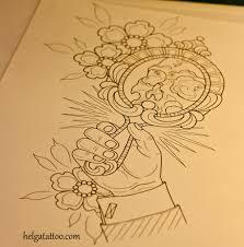 череп зеркало рука цветы эскиз татуировки хельга хаген художница