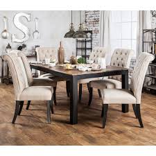 furniture of america sheila rustic two tone dining table