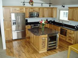 Denver Hickory Kitchen Cabinets Hickory Kitchen Cabinets With Black Island Dark Wood Cabinetry