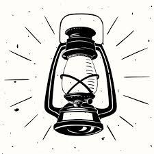 lamp drawing. an oil lamp hand drawn drawing