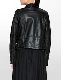 casual calvin klein madison leather biker jacket ck black women jackets