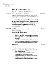 Generation Ready Third Person Resume. Reggie Stephens, Ed. S. Education  Consultant: Leadership/Literacy Current Position Education ...