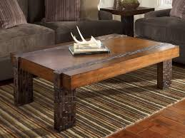 image of metal and rustic wood coffee table