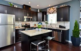 Kitchens With Dark Cabinets And Light Countertops Contemporary Kitchen Granite Intended Beautiful Design