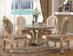 elegant image of dining room design with round white table decoration