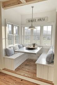 Breakfast nook furniture White Fabulous White Theme Interior Summer House Sign Over Breakfast Nook Furniture And Hardwood Floors Qualitymatters Furniture Beautiful Modern Style Age Breakfast Nook Furniture For