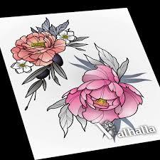 сделать татуировку пионы на рука в городе челябинск по эскизу