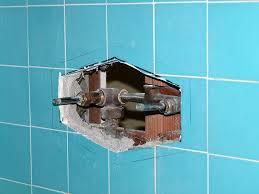 front tile cut demo showing old tub shower diverter valve for single handle ada tub shower