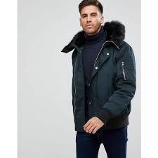 river island river island er jacket with faux fur hood in black black men jackets
