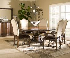 dining room table and fabric chairs. Round Dining Room Table Sets With Upholstered Chairs And Vintage Pendant Lamp Fabric I