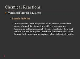 14 chemical reactions word and formula equations sample problem