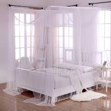 White Crystal Palace 4-Post Bed Sheer Mosquito Net Panel Canopy