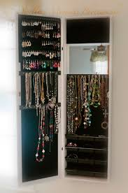 Mirrored Jewelry Cabinet Armoire Mirror Jewelry Armoire Cabinet Over Door Organizer Or Wall Hang