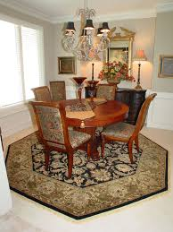 oriental rug in octagon shape under round table