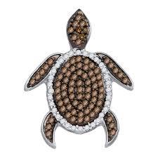 10kt yellow gold womens round cognac brown color enhanced diamond sea turtle tortoise pendant 1 3 cttw