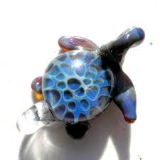 custom made glass sea turtle pendant focal boro lampwork hand blown honeycomb bead blue and grey